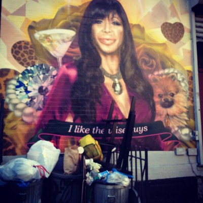 "a Mob Wives Big Ang mural ""I love wise guys"" only in Brooklyn #Williamsburg (Taken with Instagram)"