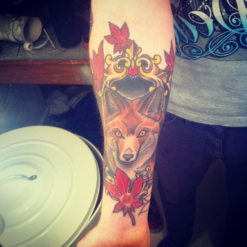 #fox #tattoo #traditional #colour #tweegram #instagood #instadaily (Taken with Instagram)