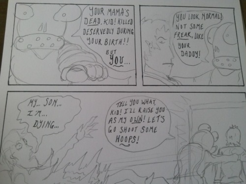 Part of 'Son of Vampire Blob: Part 3', which I inked today.  This is from earlier, when I had only inked the word balloons.  Gives you an insight into how I go about doing the inking stuff.