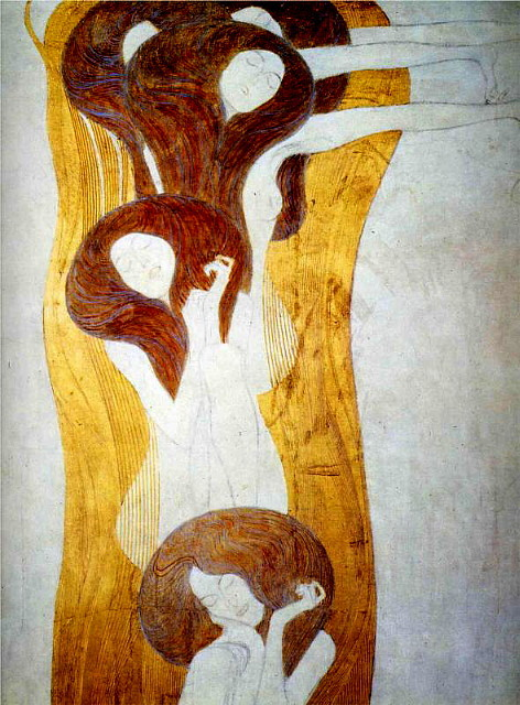 paperimages:  Gustav Klimt, The Beethoven Frieze: The Longing for Happiness Finds Repose in Poetry. Right wall, detail, 1902.