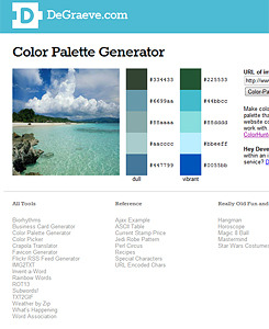 "6 Color Scheme Tools COLORlovers  The biggest resource community for colour palettes as well as patterns. Plus points that they spell ""colour""correctly my British way. Kuler  From Adobe it pretty much works the same way as COLORlovers where you also create your own schemes or edit others accordingly. Colorotate  This site is a little more interactive and fun with the 3D elements. In addition there are few fun mixing/blending options. Color Scheme Designer  The Wheel! A great resource for creating schemes as well options for ""light-er"" or ""dark-er"" versions. Pictaculous  There are a few picture-to-colours applications but this is my favourite as, in my opinion, its most accurate. In addition to finding you colours from an image you've uploaded, it suggests other similar colour schemes from Colourlovers and Kuler. You can also download swatch files which I find useful. Color Palette Generator (DeGraeve.com)  If you're lazy or don't have the image on your computer, this site lets you use URL's instead."