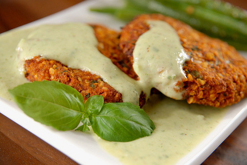in-my-mouth:  Nut Burgers with Basil Sauce