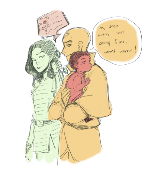 minuiko:  Tenzin on babybending babysitting duty. I imagine baby Iroh was a pretty placid kid? Ignore the probably timeline-inaccurate phone, ahah.