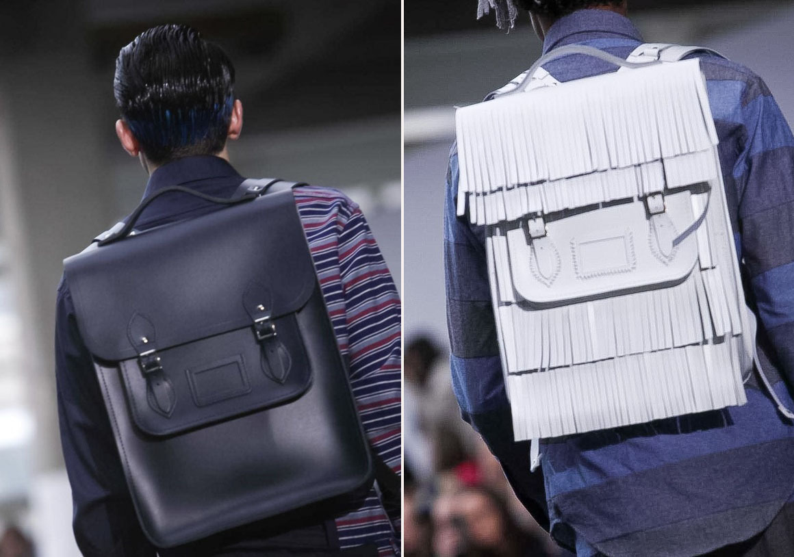 Christopher Shannon Spring Summer 2013 | The Cambridge Satchel Company's 'Batchel' collaboration in fringed white and a killer regal blue look.