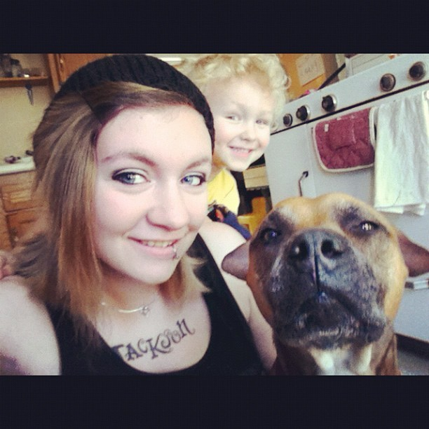 Me and my two babies #boxer #pitbull #self #child (Taken with Instagram)