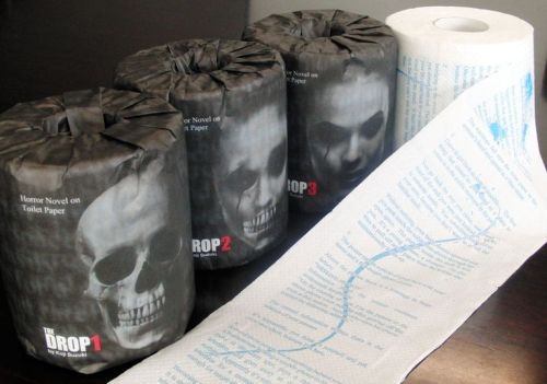 "moshita:  Billed as ""the world's scariest toilet paper,"" the roll will feature a horror story written by author Koji Suzuki, who also penned the popular horror novels ""Ring"" and ""Spiral."" Appropriately enough, the story on the roll of toilet paper is called ""Drop."" Koji Suzuki"