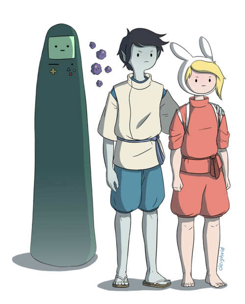 lilyvanilly:  http://deighvid.tumblr.com/tagged/studio-ghibli ^more re-imaginings of studio ghibli films with adventure time characters.    well shit, this needs to be spread around… for justice.