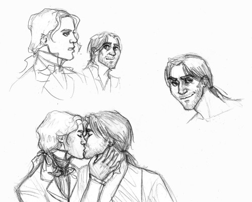 crazygreenflamingo:  Some more Grantaire/Enjolras doodles