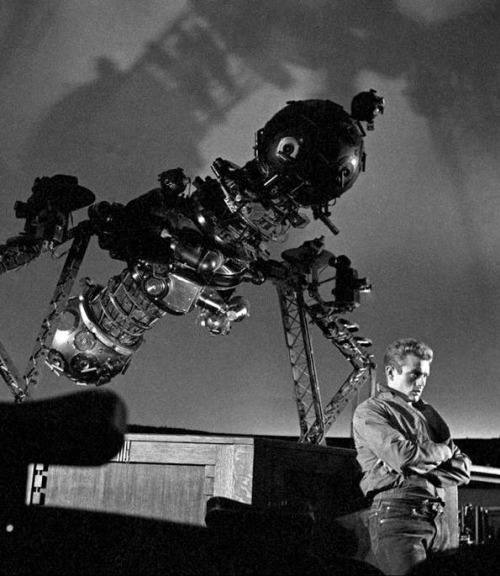 James Dean during the filming of Rebel Without a Cause, inside the planetarium (1955) Photographer: Dennis Stock  (via)