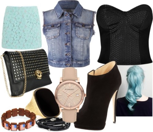 Fun Night by emsaxx featuring beaded jewelryBustier shirt, $25Vero Moda denim jacket, £38Diane von Furstenberg short skirt, $240Giuseppe Zanotti heel boots, $795Alexander McQueen black handbag, $1,395Yves saint laurent ring, $635TOMASZ DONOCIK friendship bracelet, $543Beaded jewelry, $500Burberry leather strap watch, £395
