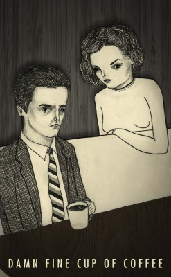 Started re-watching Twin Peaks today.  Never ever gets old.  Damn Fine Cup of Coffee 2012, ink, graphite, and digital collage © Mai Ly Degnan www.mailyillustration.com