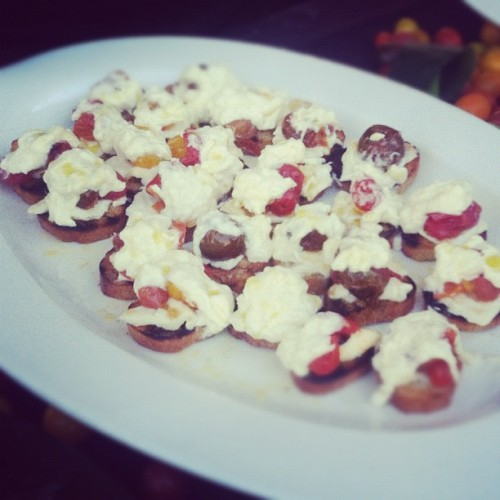 Tomato and burrata crostini, from Mario Batali (Taken with Instagram)