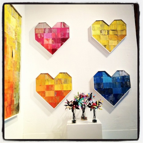 I bought the pink heart the new CanLove show No Can Left Behind opens @whitewallssf 941Geary.com opens tonight, it is fantastic, do not miss http://www.941geary.com/shows/no-can-left-behind all made from recycled spray cans @mtncolors all over! (Taken with Instagram)