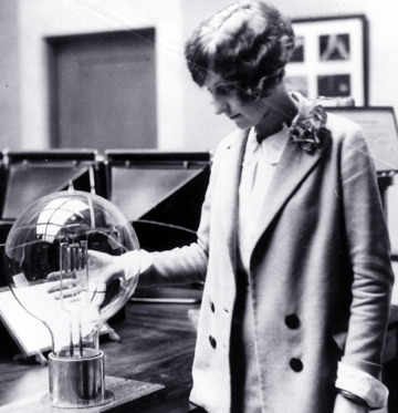 maudelynn:  A young woman studies an electric, incandescent, 30,000 watt lamp c.1927