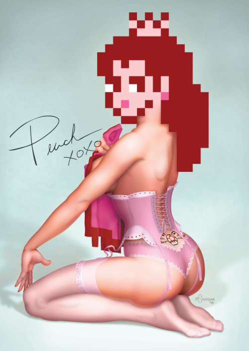 thechief0:  Pin-up Peach by pluckylump Via Deviant Art