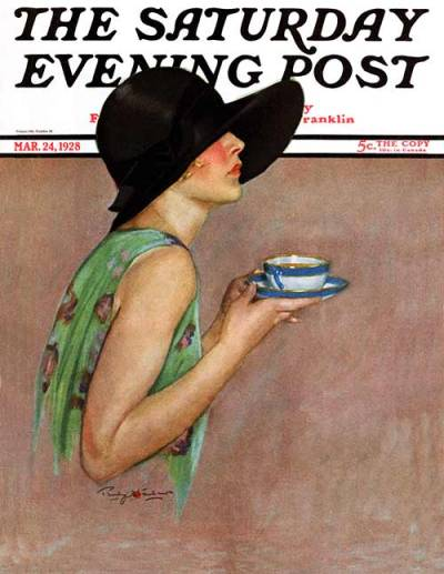 Lady in Wide Brimmed Hat by Penrhyn Stanlaws; Saturday Evening Post  – March 24, 1928