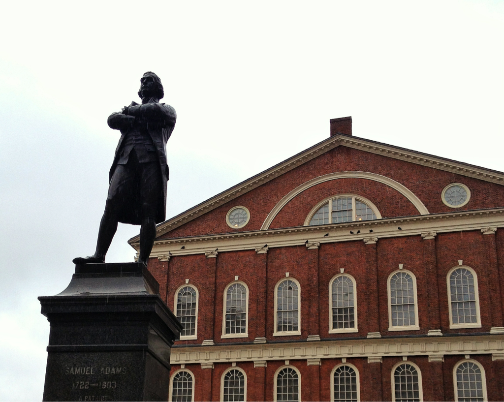 Feeling inspired after watching John Adams. This is the statue of Samuel Adams outside Faneuil Hall in Boston taken on a gloomy day last week.
