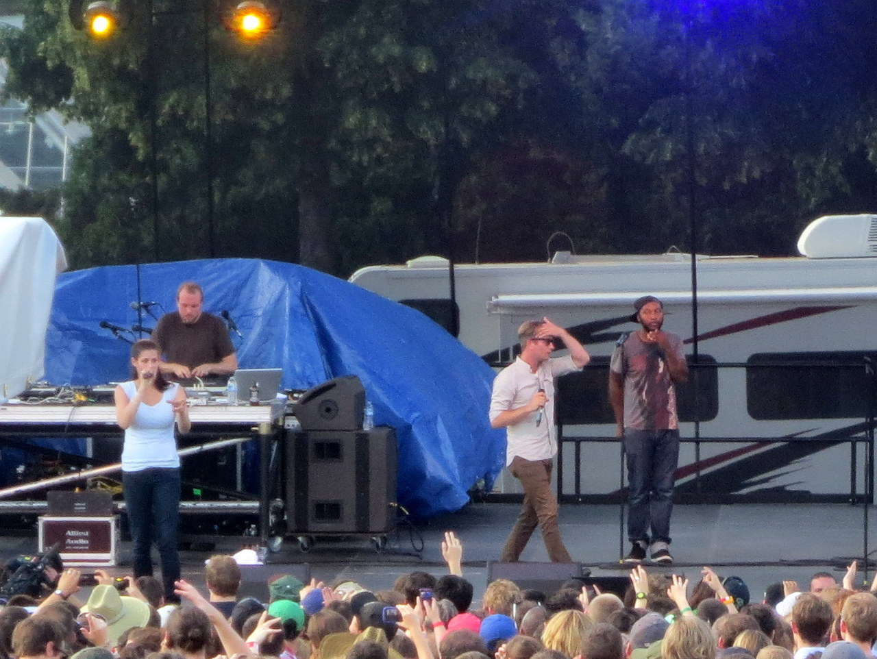 Dessa performing with Doomtree, at Rock the Garden. #Minneapolis