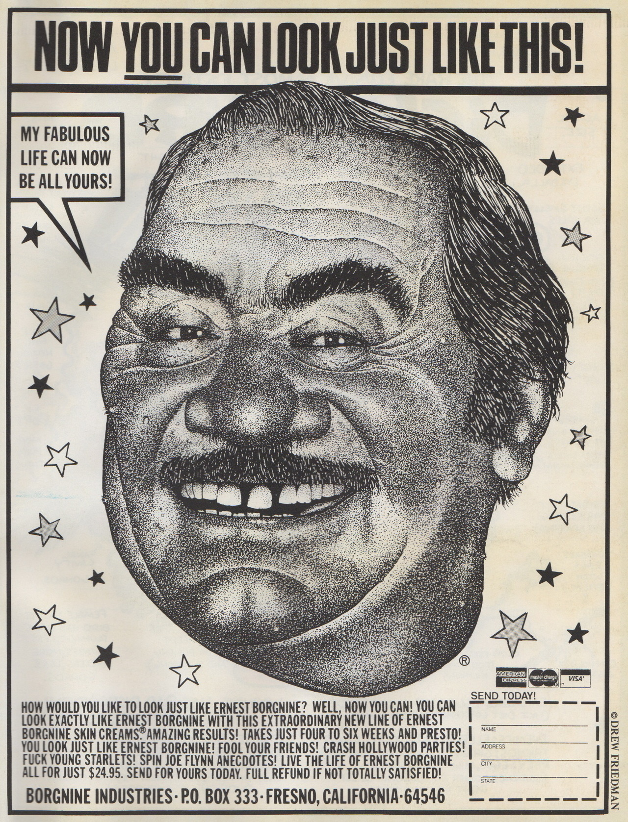 """Now You Can Look Just Like This!"" by Drew Friedman, 1984. Scanned from Weirdo Number 10, Last Gasp Eco-Funnies, Summer 1984"