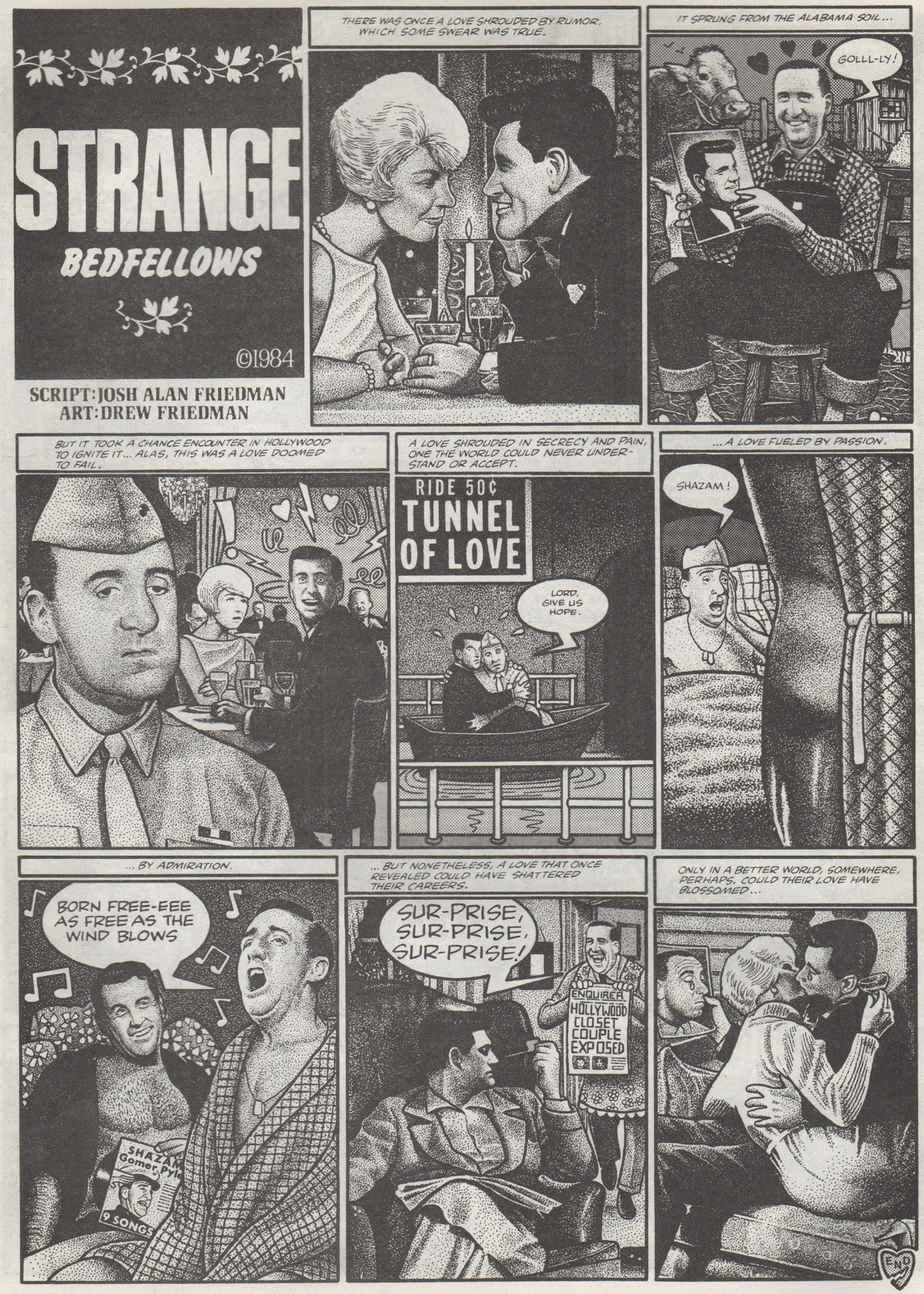 """Strange Bedfellows"" by Josh Alan Friedman. Art by Drew Friedman, 1984. Scanned from Weirdo Number 12, Last Gasp Eco-Funnies, Winter 1985"