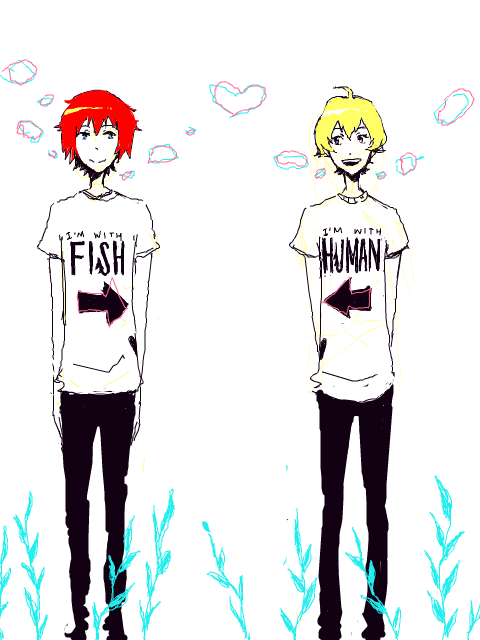 crappy-drawings:  Or maybe sakana/ningen shirts are better?
