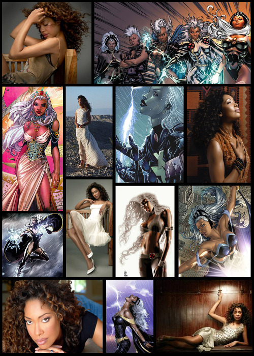 talldarkbishoujo:  niggardlydefiant:  chickadee-chick:  Gina Torres as Ororo Munroe (Storm). So I was puttering around the Ororo Munroe tag and someone, somewhere (of course I've lost who it was now) asked about casting for Storm that isn't Zoe Saldana or Halle Berry.  Honestly, I don't think either of them could pull off the ultimate badassery that is Storm if they write her well in subsequent X-Men movies (I am assuming she will appear somewhere because anything else is unthinkable).  Halle Berry just failed epically, IMHO, and I just haven't seen Zoe Saldana play a part that has the right attitude for a great portrayal of Storm (although Uhura has hints of it).Now, Ororo Munroe has been my favorite comic book character since I was like… eight (that's almost 20 years ago for those of you playing the home game). So filling those shoes is a big deal to me.  A really big deal.  Who do I think could really do it right?  Gina Torres a.k.a. Zoe Washburn from Firefly and Serenity.  Unf.  Yes please.   This is my headcanon  oh my god my live action wife with my comic book wife I COULD NOT HANDLE IT