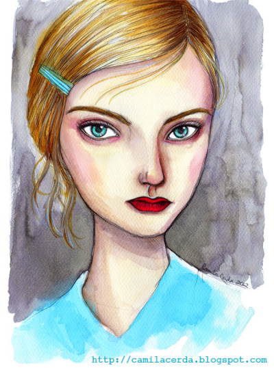 *Nastya Kusakina* Portrait. Cacharel, Fall/Winter 2012-2013 Watercolor, ink pen