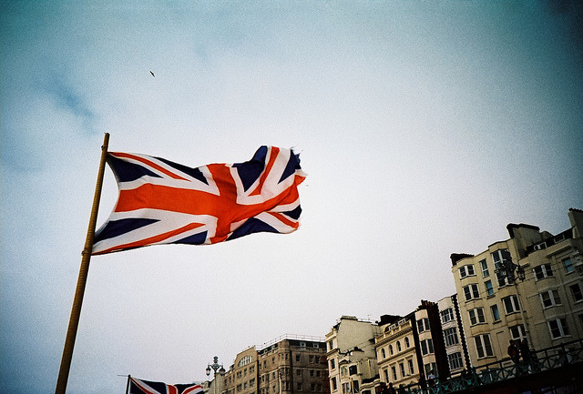 two-trapeze:  union flag on brighton sea front by lomokev on Flickr.