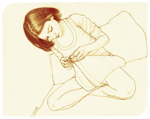 cloviscm:  Alicia Examining the Tag on her Tote-bag, 2012, Pencil