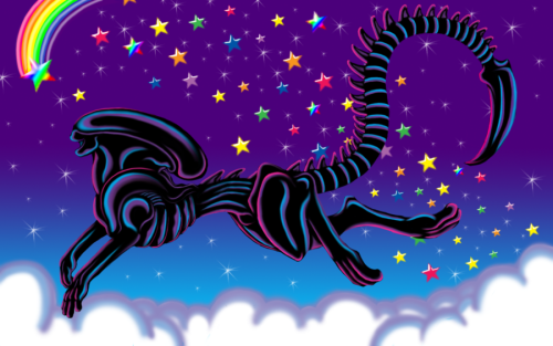 iheartchaos:  Fan art of the day: Lisa Frank xenomorph By GalenaLarkin