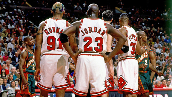 The greatest Big 3 ever on the greatest team ever. The 72-10 Bulls! 1996 NBA Champions!