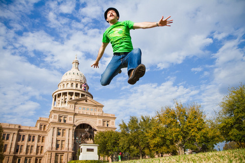 Jumping at the Texas State Capitol in Austin, TX during SXSW. Photo taken by Mike Hedge. Finally, the guy who is in a bunch of jumping photos met the guy who has taken a bunch of jumping photos!
