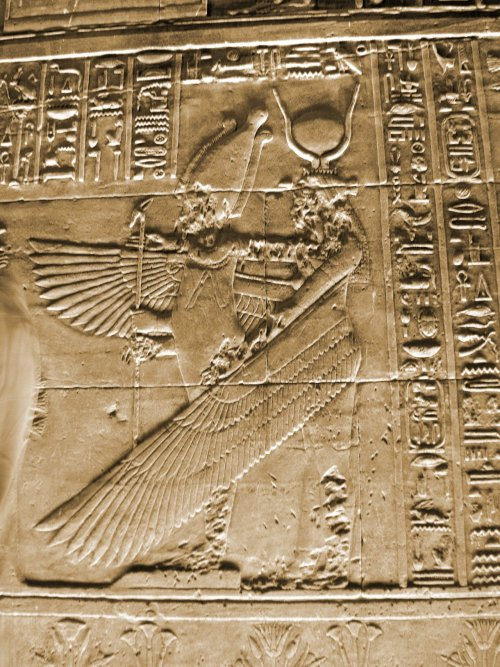ancientart:  Ancient Egyptian Goddess Isis shown on the Philae Temple