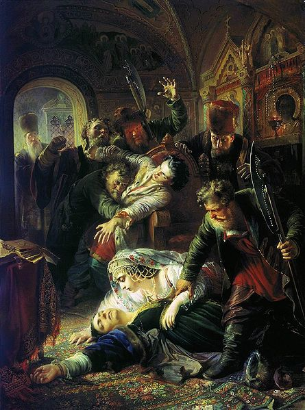 False Dmitry's agents murdering Feodor Godunov and his mother by Konstantin Makovsky (1862).