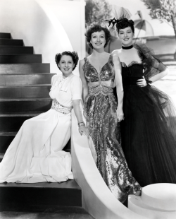 Joan Crawford, Norman Shearer, Rosalind Russell.  Publicity still for The Women