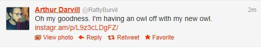 becks28nz:  Arthur Darvill dressed as an owl, with an owl - all the awards! Happy Birthday Arthur! (via @rattyburvil)