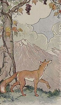 The Fox and the Grapes by Aesop. When the fox fails to reach the grapes, he decides he does not want them after all. Rationalization (making excuses) is often involved in reducing anxiety about conflicting cognitions.