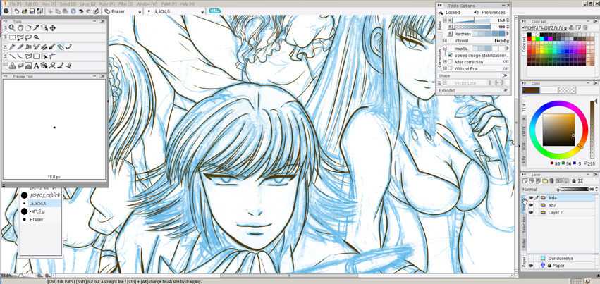 WIP. Characters from our original manga, Soul Chaser :)  We must work from time to time XDI can´t wait to have a little time and ink my Thor & Loki fanart, though.