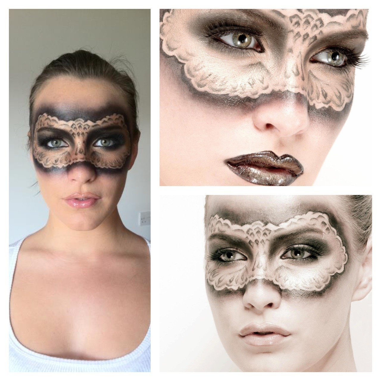 "Another behind the scenes makeup image - Masquerade makeup! This look took me around 1.5hrs to complete. I hadn't practiced this look before, I just decided to freehand it on a whim. I was really pleased with the result. I used cheap brand makeup for this look so it's definitely a ""Do it at home"" one you can recreate! Look at my past blog posts for a step-by-step guide on how to get this look!"
