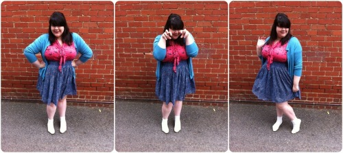 (size omitted) Cardigan - Ezibuy Pussy-bow t-shirt - Dorothy Perkins Skirt - K-Mart Socks - Sportsgirl Flats - Witchery