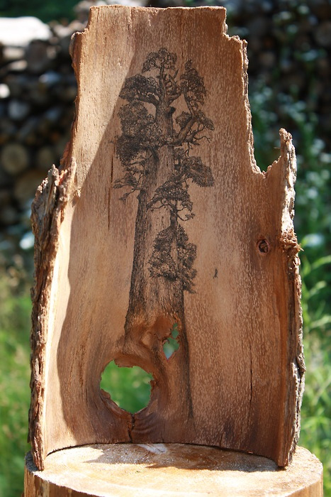 I love this - sort of like a tattoo on timber. I think it might be interesting to experiment with the timber heels, like inlaying mother of pearl or opals, or even doing something like this?