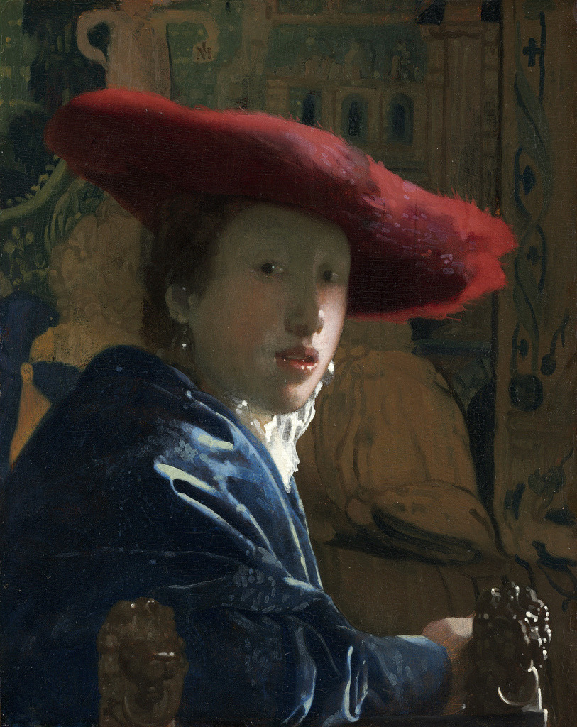 Jan Vermeer - Girl with the Red Hat, 1665-66. Oil on panel