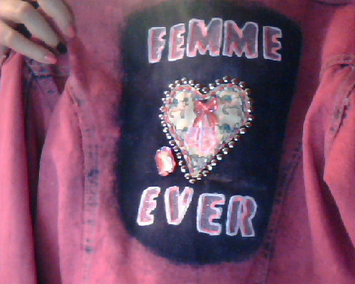 "pfurry:  I wanted to take a WIP shot of my ""femme 4ever"" jacket. It is gonna get even MORE ridiculous."