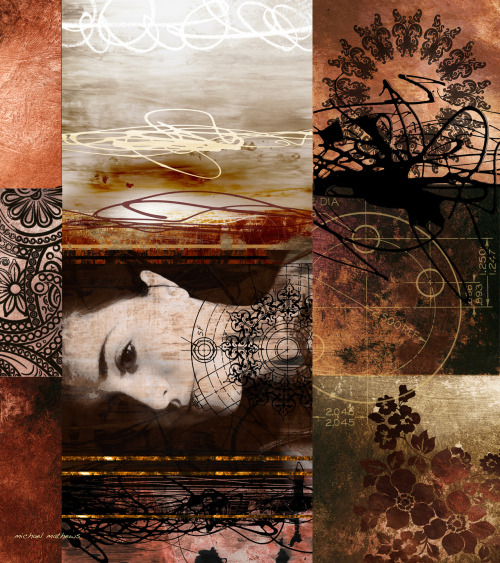 neurosmechanica:  Bound to My Desires 16x18, mixed media & digital, 2012 by Michael Mathews