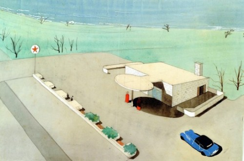 rmgdesign:  #drawing #architecture #arne jacobsen 1936 (via PRIVATE » Blog Archive » TEXACO GAS STATION by ARNE JACOBSEN (1936))