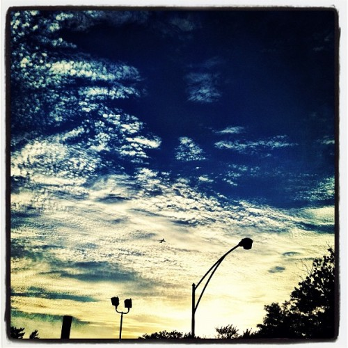 #photoadayjune #outandabout #sky taking miss blondie out for a walk #clouds #sunset (Taken with Instagram)