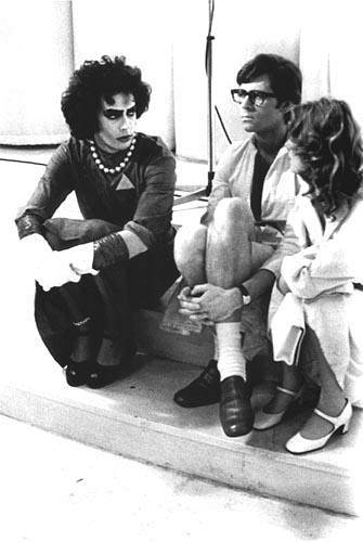 bohemea:  Tim Curry, Barry Bostwick & Susan Sarandon on the set of The Rocky Horror Picture Show