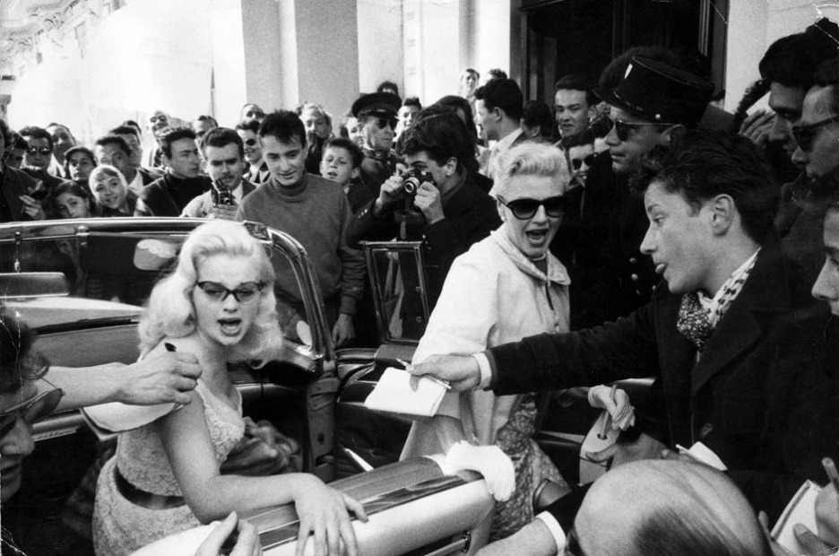 Diana Dors and Ginger Rogers at Cannes in 1956