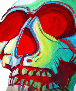 Skull Original Pop Art Style MADART Colorful Human Skull Skeletcon by Megan Duncanson