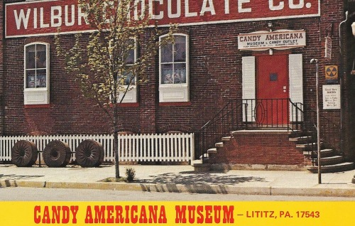 retropostcardgallery:  Candy Americana Museum and Candy Outlet Wilbur Chocolate Co., 48 N. Broad Street Lititz, Pa, 17543 Free admission to the museum showing the history and romance of the candy industry since revolutionary times. Fallout shelter for your convenience in the event of nuclear armageddon.